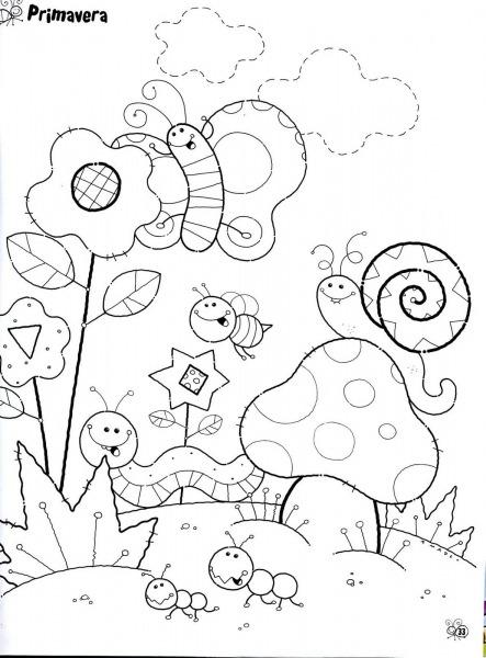 Desenho Sobre A Primavera Para Imprimir E Colorir