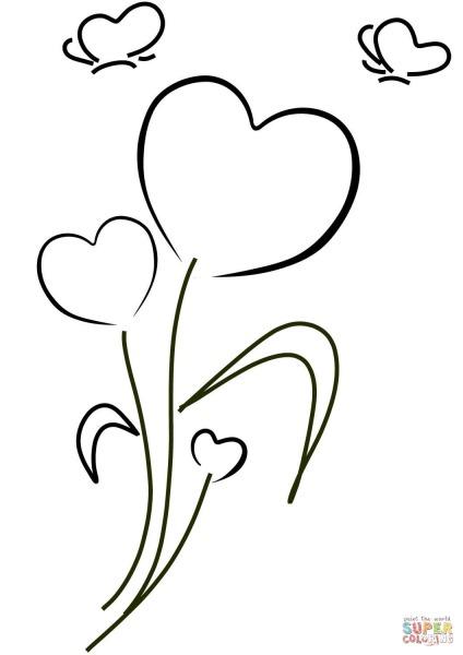 Desenho De Corações E Flores Para Colorir