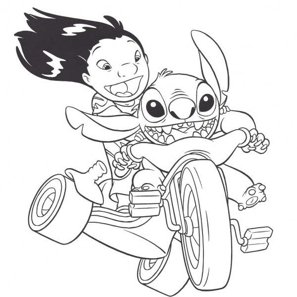 Desenho De Lilo E Stitch Andando De Triciclo Para Colorir