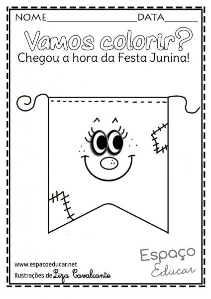 Bandeirinha De Festa Junina Para Colorir – Pampekids Net