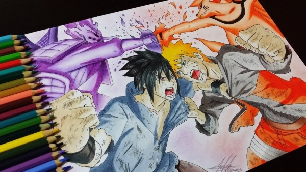 Drawing Naruto Vs Sasuke