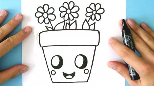 Como Desenhar Vaso De Flores Kawaii