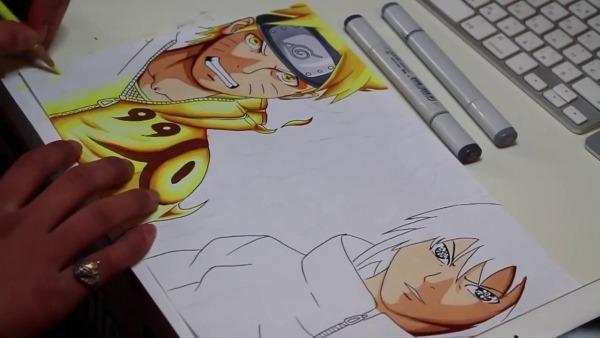 Naruto E Sasuke Desenho E Arte Final (rápido E Simples)