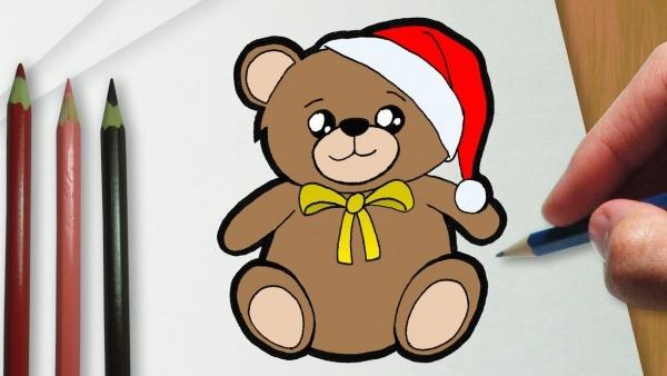 Como Desenhar Um Ursinho De Pelúcia De Natal Kawaii