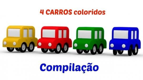 As Cores Para Crianças  4 Carros Coloridos  Coleçao De Desenhos