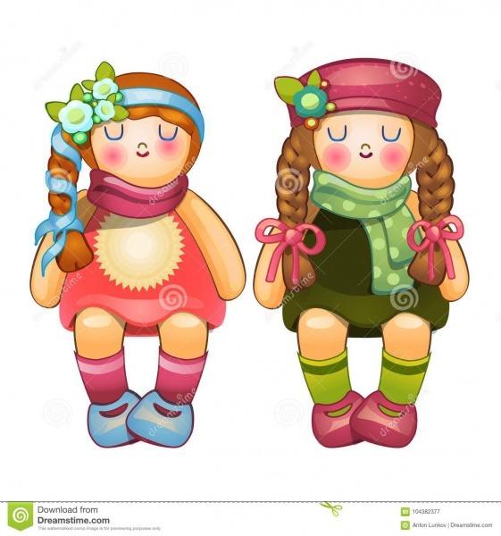 Meninas Enchidas Bonitas Das Bonecas Com Tranças Longas Brinquedo
