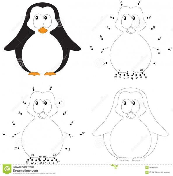 Pinguim Do Bebê Dos Desenhos Animados Livro Para Colorir E Ponto