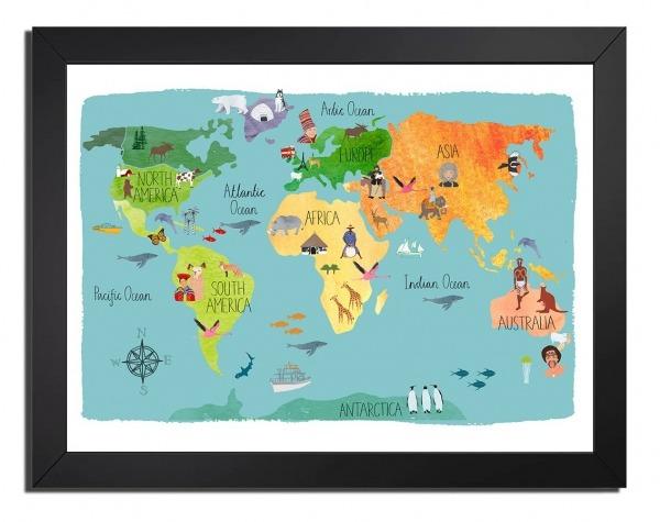 Quadro Mapa Mundi Desenho Tamanho 45x35 Com Vidro