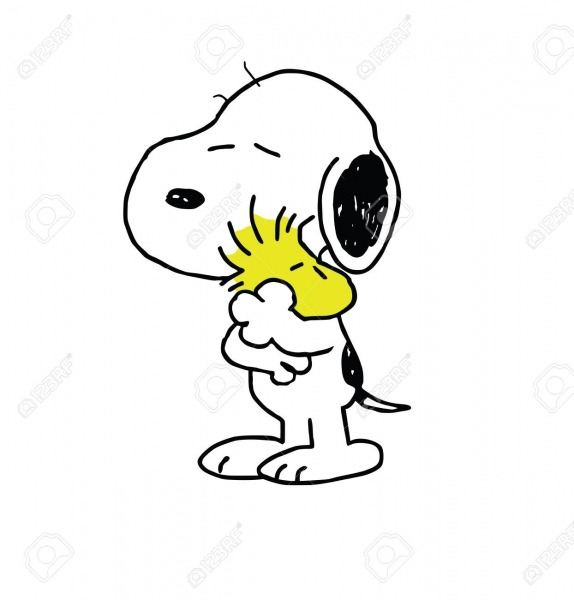 Woodstock Peanuts And Snoopy Hugging Illustration Friends Stock