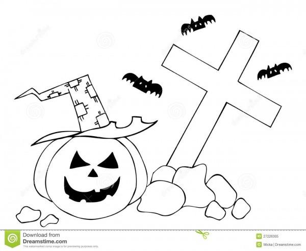 Abóbora De Halloween No Cemitério Ilustração Do Vetor