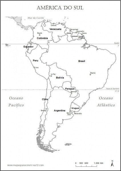 Mapa America Do Sul Para Colorir