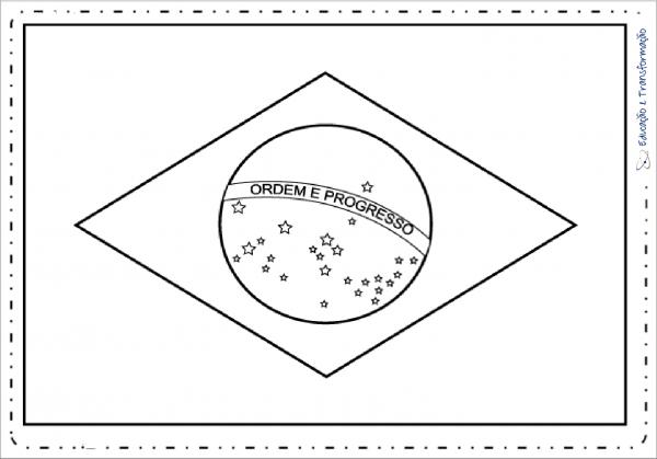 Desenho Da Bandeira Do Brasil Para Colorir – Educação E Transformação