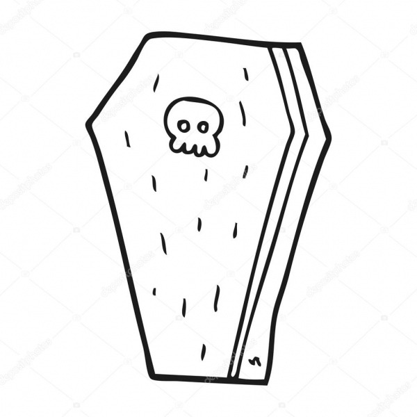 Black And White Cartoon Halloween Coffin — Stock Vector