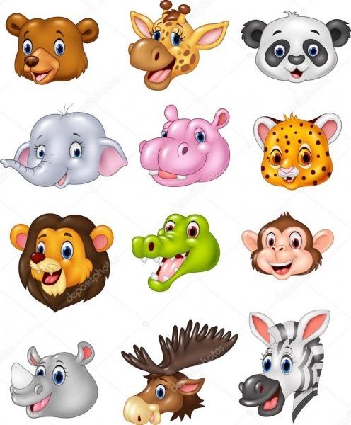 Coleção De Cabeça Animal Selvagem Dos Desenhos Animados — Vetores