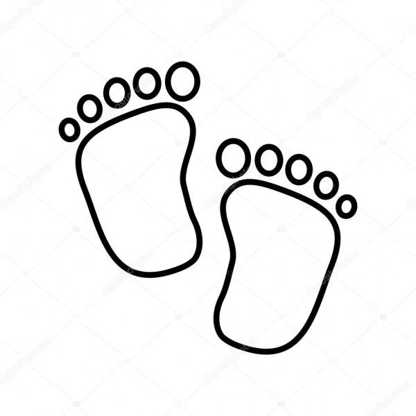 Desenho De Criança De Bebê  ícone De Impressão De Pé  Imagem