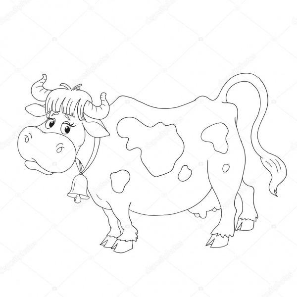 Personagem De Desenho Animado Vaca  Vetor De Livro Para Colorir