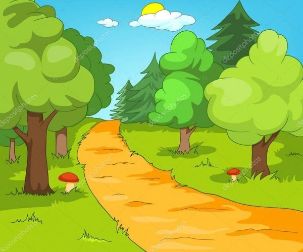 Fundo De Desenho Animado De Paisagem De Floresta  — Stock Photo