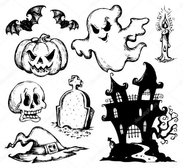 Coleção De Desenhos De Halloween 1 — Vetores De Stock © Clairev