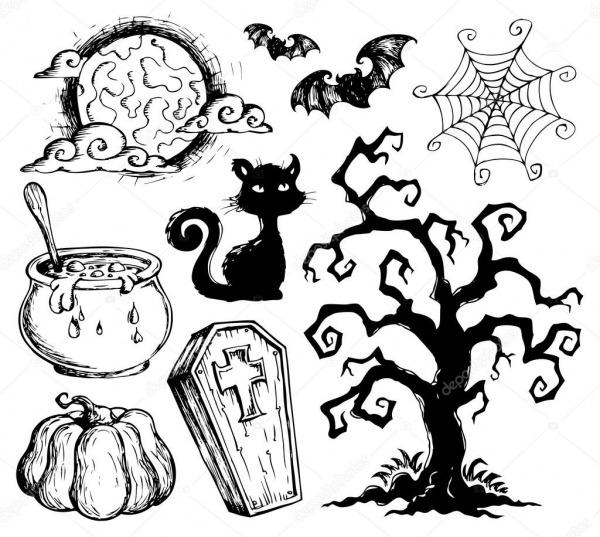 Coleção De Desenhos De Halloween 2 — Vetores De Stock © Clairev
