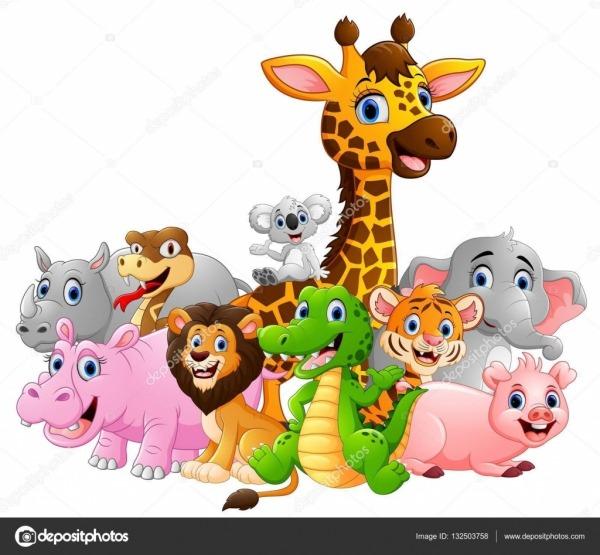 Desenhos Animados Animais Safari Feliz — Vetores De Stock