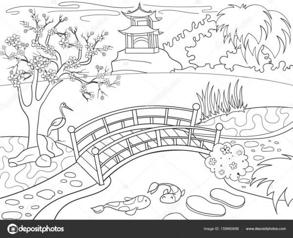 Natureza Do Japão, Livro De Colorir Para Crianças Desenhos