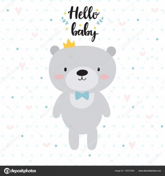 Oi Bebê  Bonito Cartão Com Desenhos Animados Urso E Coroa  Design