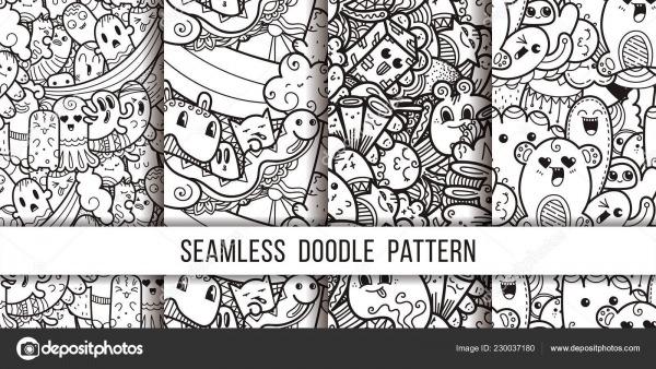 Coleção De Engraçado Doodle Padrão Sem Emenda De Monstros Para