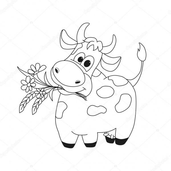 Ilustração De Contorno De Vaca Bonita Com Flores — Vetores De