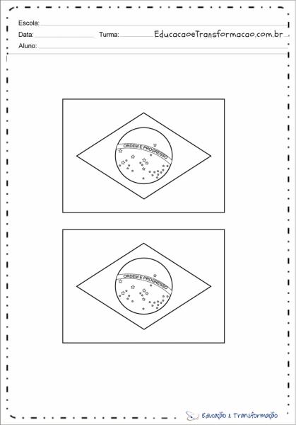 Desenho Da Bandeira Do Brasil Ilustrada Para Colorir E Imprimir