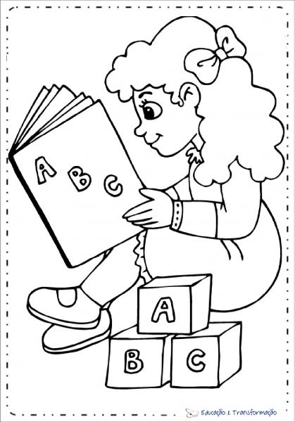 Desenhos Para Colorir Para Dia Do Livro Infantil Com Menina