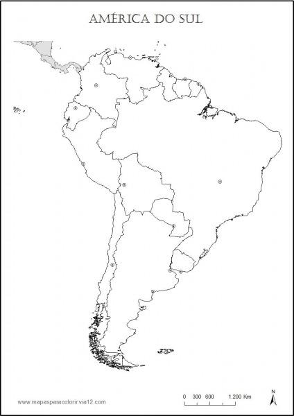 Mapa Da America Do Sul Para Colorir