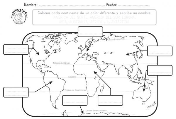 Mapa Mundi Continentes Para Pintar