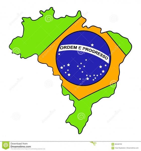 Mapa De Brasil E Desenhos Animados Do ícone Da Bandeira Ilustração