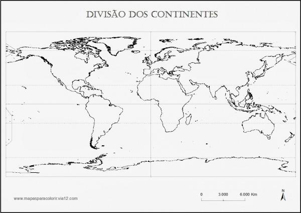 Geografia Para Todos  Mapa Para Colorir   Divisao Dos Continentes