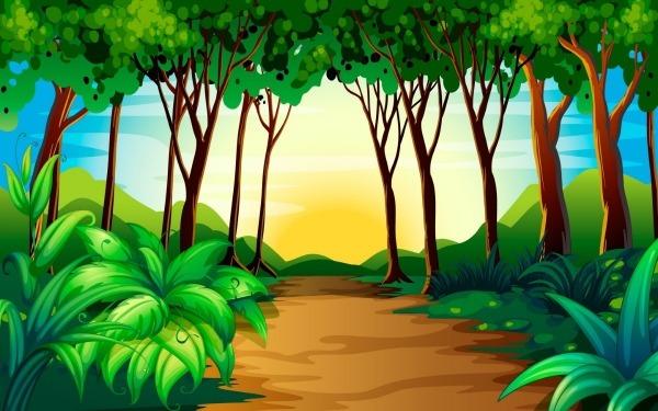 Painel Lona Festa Floresta Verde Desenho Caminho 2,00x1,50m