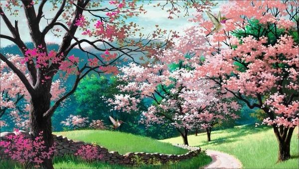 Painel Lona Floresta Rosa Desenho Paisagem 3,00x1,80m