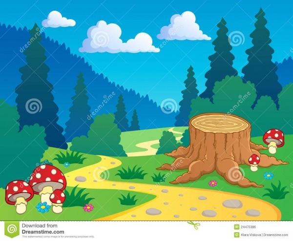 Paisagem 7 Da Floresta Dos Desenhos Animados Ilustração Do Vetor