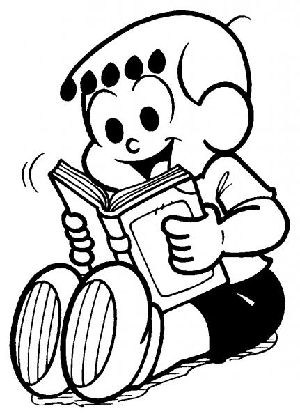Desenho De Anjinho Lendo Um Livro Para Colorir