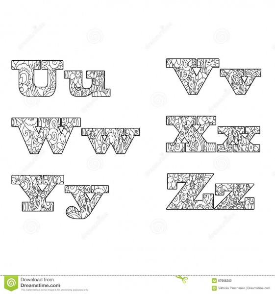 Anti Alfabeto Do Livro Para Colorir, A Ilustração Do Vetor Da