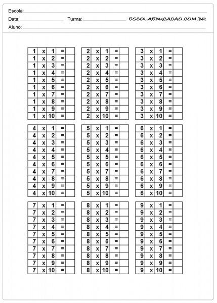 Atividade De Tabuada Para Imprimir Tabuada De Multiplicação