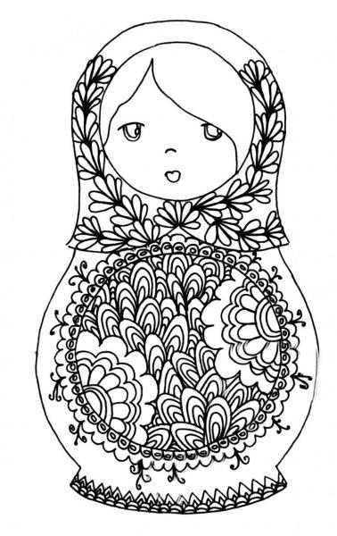 Desenho De Boneca Russa Decorada Para Colorir