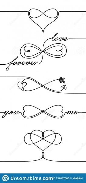 Único A Lápis ícones Infinitos Do Amor Do Desenho, Uma Linha