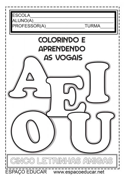 Meu Livro Colorindo E Aprendendo Vogais GrÁtis!!