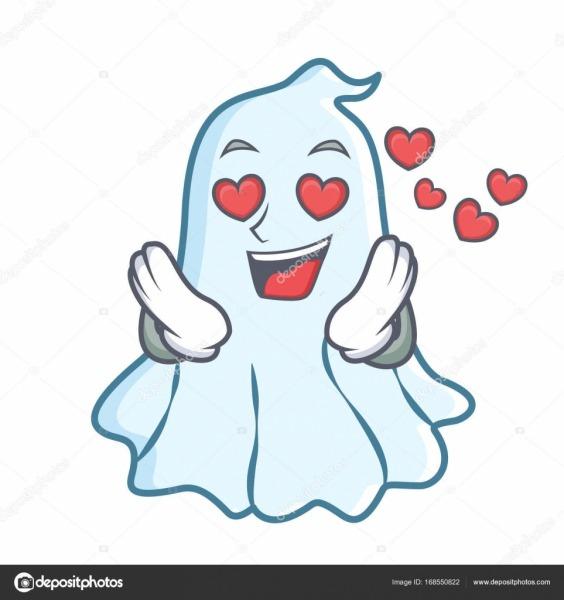 Desenho De Personagem Fantasma Bonito Amor — Vetores De Stock