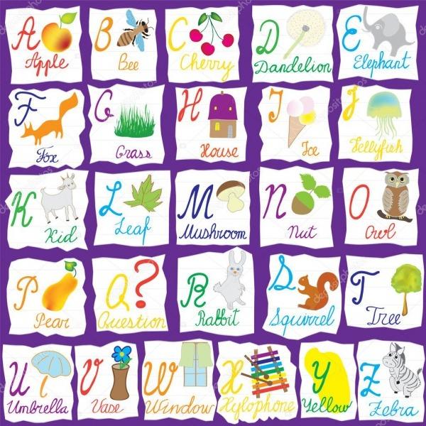 Alfabeto Inglês Com Letras, Palavras E Imagens Isoladas Em Backgr