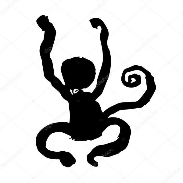 Tinta Pintura Escova De Macaco — Vetores De Stock © Michikodesign