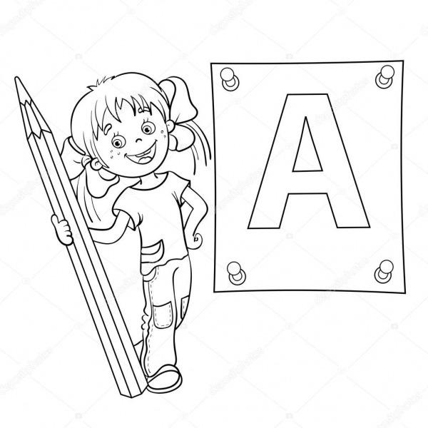 Colorir Página Contorno De Um Desenho Animado Menina Com Lápis E