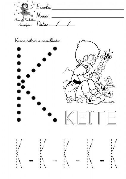 Alfabeto Pontilhado Para Colorir – Letra K