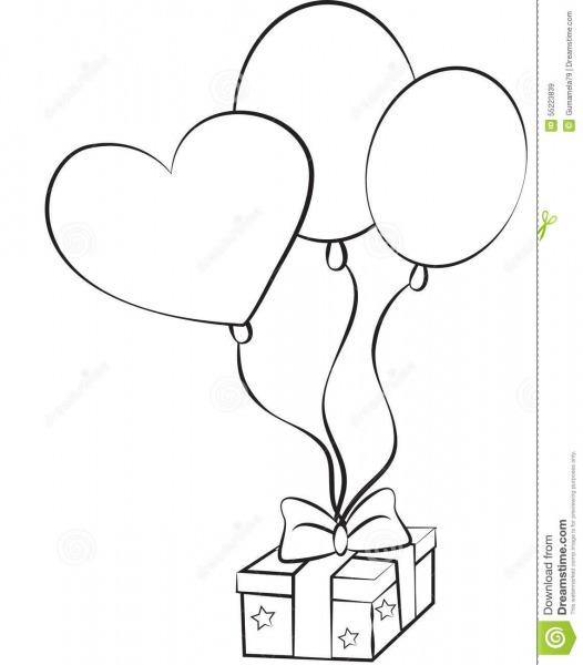 Imagem Conservada Em Estoque  Balões E Presente Do Aniversário