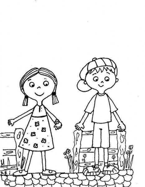 Desenho Menino E Menina Para Colorir